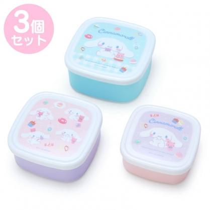 小禮堂 大耳狗 日製 方形微波保鮮盒組 密封保鮮盒 塑膠保鮮盒 便當盒 (3入 藍 甜點)