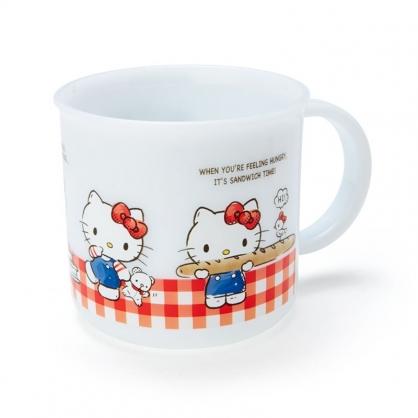 小禮堂 Hello Kitty 日製 單耳塑膠杯 兒童水杯 漱口杯 小水杯 200ml (白 格紋)