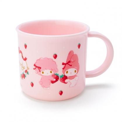 小禮堂 美樂蒂 日製 單耳塑膠杯 兒童水杯 漱口杯 小水杯 200ml (粉 草莓)
