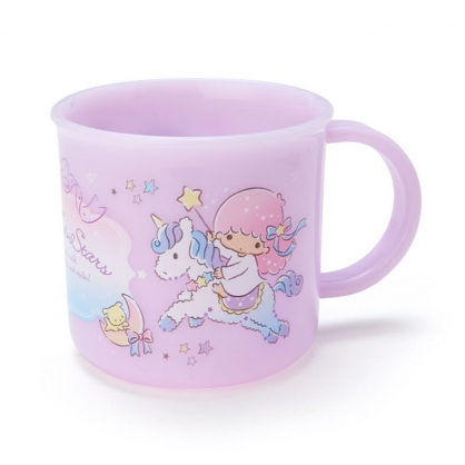 小禮堂 雙子星 日製 單耳塑膠杯 兒童水杯 漱口杯 小水杯 200ml (紫 獨角獸)
