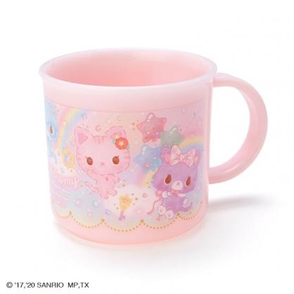 小禮堂 甜夢貓 日製 單耳塑膠杯 兒童水杯 漱口杯 小水杯 200ml (粉 彩虹)
