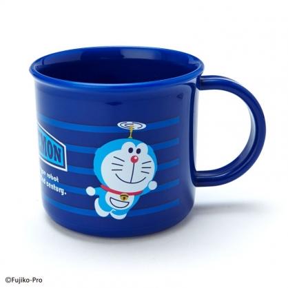 小禮堂 哆啦A夢 日製 單耳塑膠杯 兒童水杯 漱口杯 小水杯 200ml (藍 橫紋)