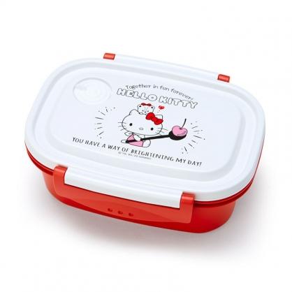 小禮堂 Hello Kitty 日製 輕量型微波便當盒 塑膠便當盒 保鮮盒 550ml (紅白 櫻桃)