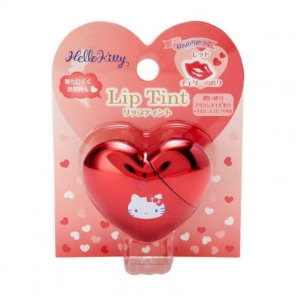 小禮堂 Hello Kitty 愛心造型亮面唇釉 香氛唇釉 保濕唇釉 唇膏 唇蜜 櫻桃香 (紅)