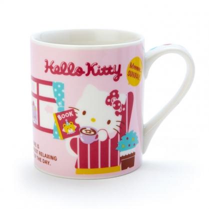 小禮堂 Hello Kitty 陶瓷馬克杯 咖啡杯 茶杯 陶瓷杯 230ml (紅黃 房間)