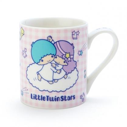 小禮堂 雙子星 陶瓷馬克杯 咖啡杯 茶杯 陶瓷杯 230ml (粉紫 格紋)
