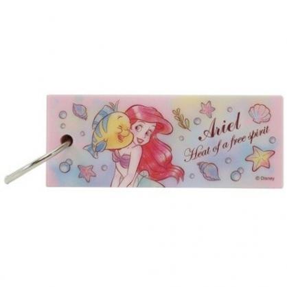 小禮堂 迪士尼 小美人魚 隨身單字紙卡本 附扣環 隨身筆記本 單字本 便條紙 (粉 碰臉)