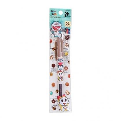 小禮堂 哆啦A夢 日製 多色筆 三色筆 原子筆 0.4mm Pentel (棕 餅乾)