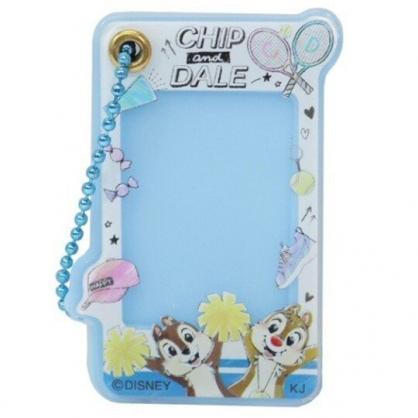 小禮堂 迪士尼 奇奇蒂蒂 造型壓克力相片吊飾 相框鑰匙圈 相框吊飾 (藍 球拍)