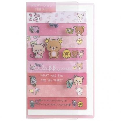 小禮堂 懶懶熊 日製 自黏標籤貼 附收納夾 N次貼 便利貼 書籤貼 (粉 愛心)