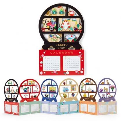 小禮堂 Hello Kitty 2021 造型桌曆卡片 新年卡片 春節賀卡 年曆卡 (黑 和風)