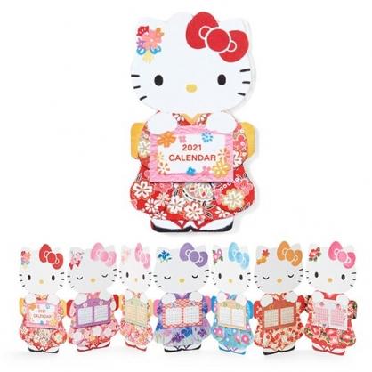 小禮堂 Hello Kitty 2021 造型桌曆卡片 新年卡片 春節賀卡 年曆卡 (紅 和服)