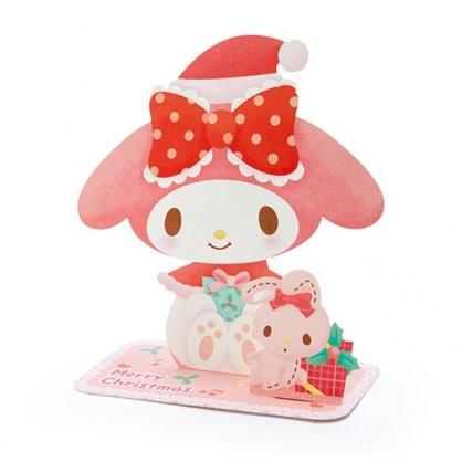 小禮堂 美樂蒂 可立式造型聖誕卡片 立體卡片 耶誕卡 賀卡 (粉 2020聖誕節)