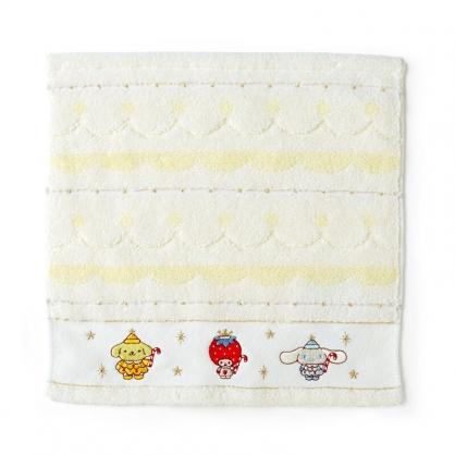 小禮堂 Sanrio大集合 純棉無捻紗方巾 純棉手帕 小毛巾 25x25cm (白 2020聖誕節)
