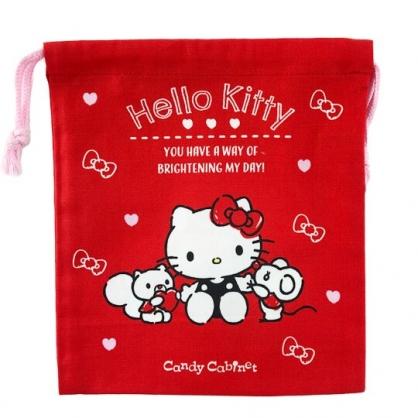 小禮堂 Hello Kitty 日製 棉質束口袋 文具袋 小物袋 縮口袋 19x21cm (紅 2020聖誕節)