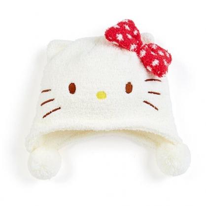 小禮堂 Hello Kitty 兒童造型耳朵絨毛帽 玩偶帽 保暖帽 毛帽  (白 2020冬日特輯)