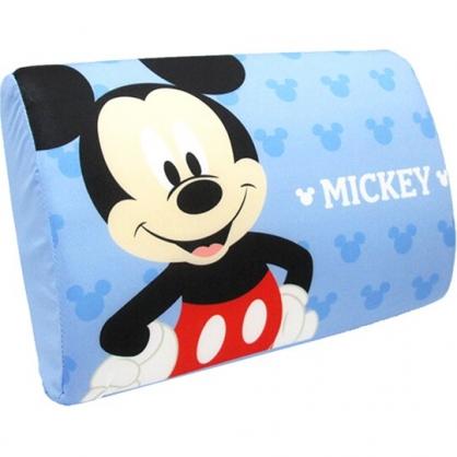 小禮堂 迪士尼 米奇 方形棉質枕頭 兒童枕頭 記憶枕 乳膠枕 午睡枕 (藍 半身)
