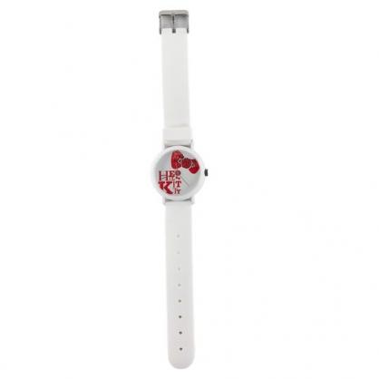 小禮堂 Hello Kitty 日製 矽膠錶帶腕錶手錶 香氛手錶 矽膠手錶 休閒錶 KAORU (白 大臉)