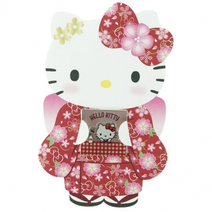 小禮堂 Hello Kitty 日製 迷你造型新年紅包袋 壓歲錢袋 禮金袋 信封袋 (3入 紅 和服)