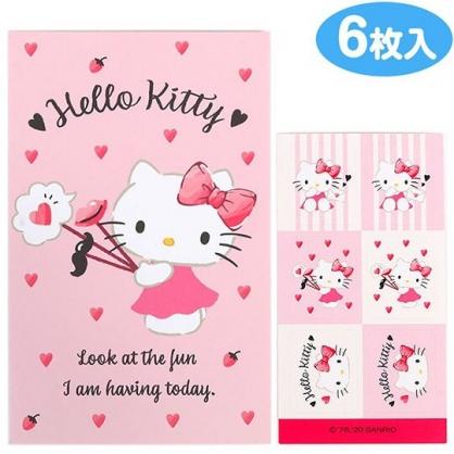 小禮堂 Hello Kitty 日製 迷你直式新年紅包袋 壓歲錢袋 禮金袋 信封袋 (6入 粉 愛心)