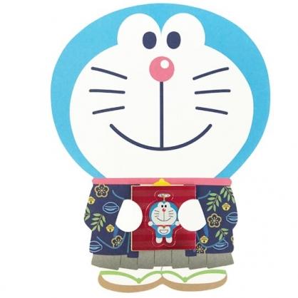 小禮堂 哆啦A夢 日製 迷你造型新年紅包袋 壓歲錢袋 禮金袋 信封袋 (3入 藍 和服)