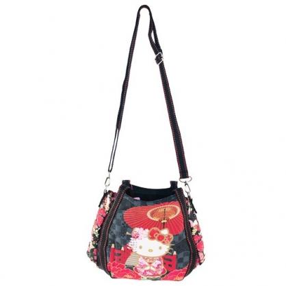 小禮堂 Hello Kitty 帆布托特包手提袋 帆布手提袋 斜背袋 便當袋 (紅黑 紙傘)