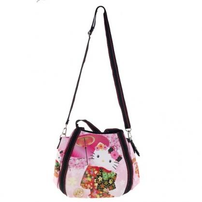 小禮堂 Hello Kitty 帆布托特包手提袋 帆布手提袋 斜背袋 便當袋 (粉黑 紙傘)