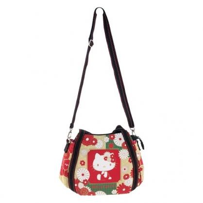 小禮堂 Hello Kitty 帆布托特包手提袋 帆布手提袋 斜背袋 便當袋 (紅金 側坐)