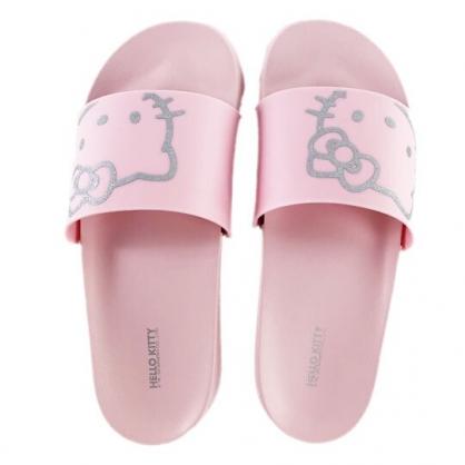 小禮堂 Hello Kitty 塑膠厚底拖鞋 室內拖鞋 休閒拖鞋 浴室拖鞋 (粉銀 大臉)