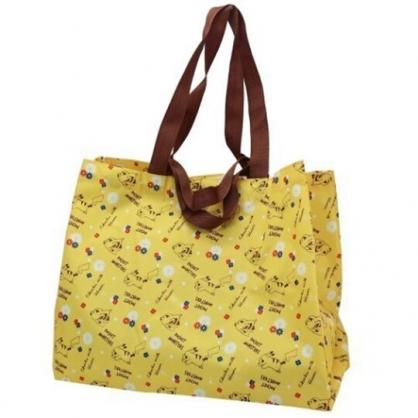 小禮堂 神奇寶貝 折疊尼龍環保購物袋 環保袋 側背袋 手提袋 (黃棕 花朵)