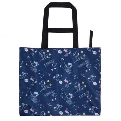 小禮堂 史努比 折疊尼龍環保購物袋 環保袋 側背袋 手提袋 (深藍 掃把)