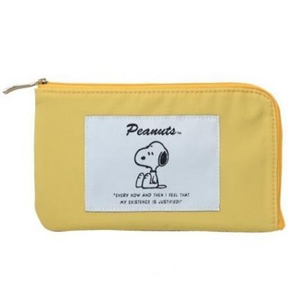 小禮堂 史努比 尼龍口罩包 面紙包 小物包 口罩夾 口罩套 口罩收納 (黃 側坐)