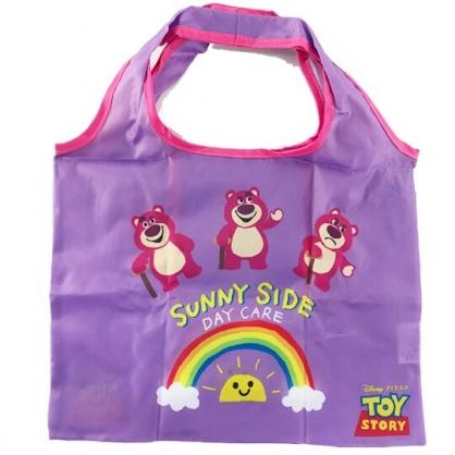 小禮堂 迪士尼 熊抱哥 折疊尼龍環保購物袋 環保袋 側背袋 手提袋 (紫 彩虹)