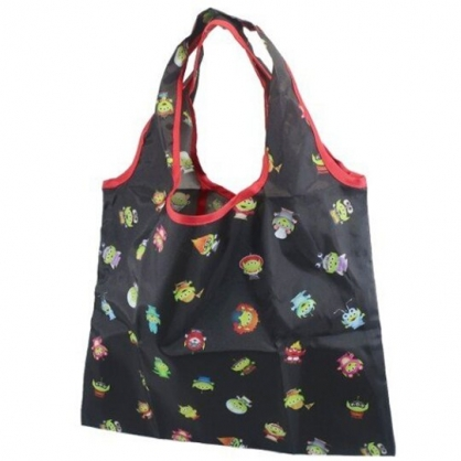 小禮堂 迪士尼 三眼怪 折疊尼龍環保購物袋 環保袋 側背袋 手提袋 (黑 變裝)