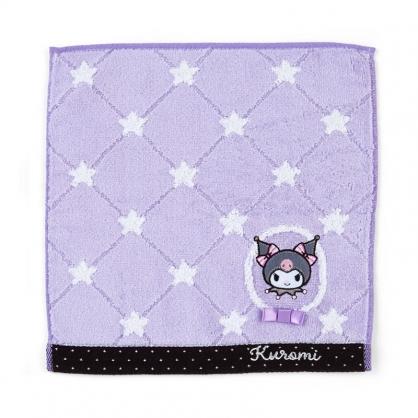 小禮堂 酷洛米 純棉無捻紗方巾 純棉手帕 小毛巾 25x25cm (紫 星星紋)