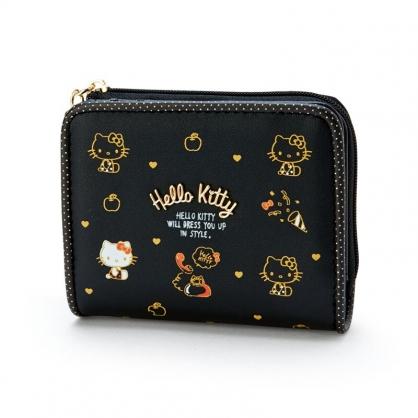 小禮堂 Hello Kitty 皮質拉鍊短夾 扣式短夾 短皮夾 皮質零錢包 (黑 滿版)