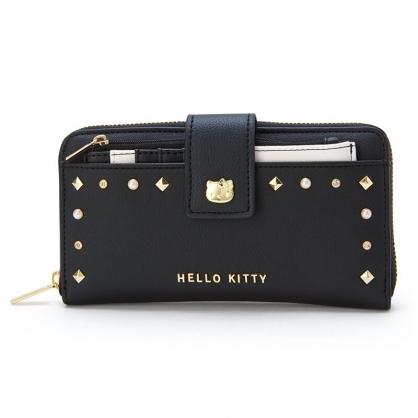 小禮堂 Hello Kitty 皮質扣式長夾 附零錢包 票卡夾 長皮夾 皮質手拿包 (黑 鉚釘)