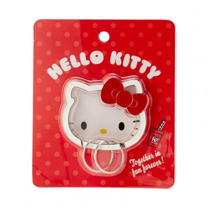 小禮堂 Hello Kitty 造型金屬鑰匙圈 鑰匙扣環 鐵鑰匙圈 鑰匙收納 (紅 大臉)