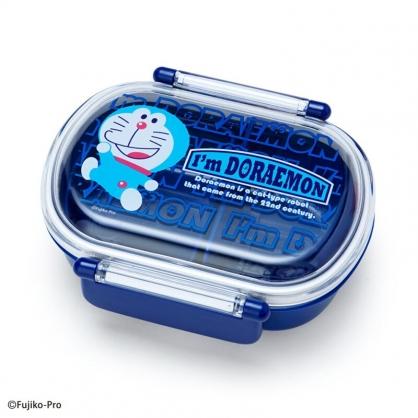 小禮堂 哆啦A夢 日製 透明蓋微波便當盒 雙扣便當盒 塑膠便當盒 保鮮盒 360ml (藍 文字)