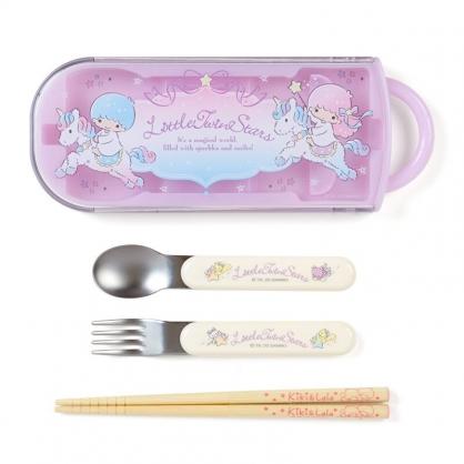 小禮堂 雙子星 日製 滑蓋三件式餐具組 叉匙筷 兒童餐具 環保餐具 (紫 獨角獸)