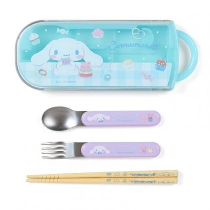小禮堂 大耳狗 日製 滑蓋三件式餐具組 叉匙筷 兒童餐具 環保餐具 (藍 甜點)