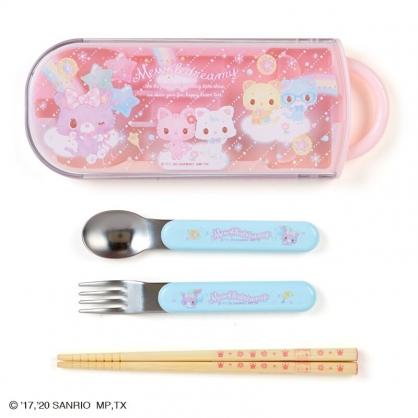 小禮堂 甜夢貓 日製 滑蓋三件式餐具組 叉匙筷 兒童餐具 環保餐具 (粉 彩虹)