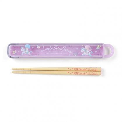 小禮堂 雙子星 日製 天然竹筷 附盒 兒童筷 木筷 環保筷 16.5cm (紫 獨角獸)