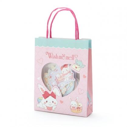 小禮堂 許願兔 日製 手提紙袋造型貼紙組 手帳貼紙 卡片貼紙 裝飾貼紙 (粉綠)