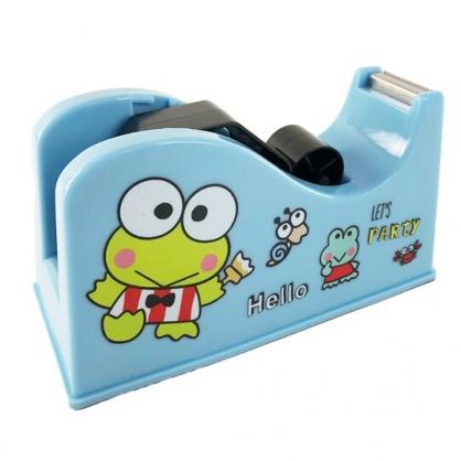 小禮堂 大眼蛙 桌上型塑膠膠台 膠帶切台 大膠台 膠帶收納 (藍 舉手)