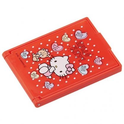小禮堂 Hello Kitty 迷你方形塑膠隨身鏡 隨身化妝鏡 折鏡 立鏡 (紅 愛心)