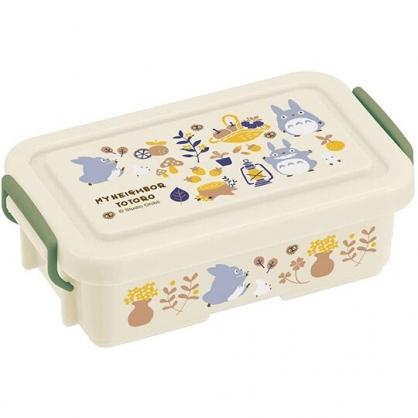 小禮堂 龍貓 方形微波便當盒 雙扣便當盒 塑膠便當盒 保鮮盒 340ml (米綠 提籃)