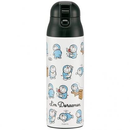 小禮堂 哆啦A夢 彈蓋不鏽鋼保溫瓶 兒童水壺 隨身瓶 超輕量不鏽鋼 500ml (黑白 初期)
