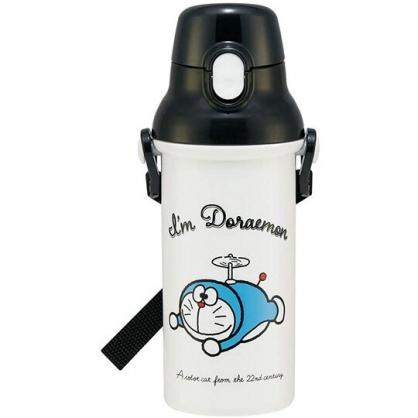 小禮堂 哆啦A夢 日製 直飲式水壺附背帶 塑膠水瓶 兒童水壺 隨身瓶 480ml (黑白 初期)