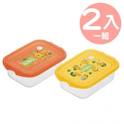 小禮堂 神奇寶貝 日製 方形透明微波保鮮盒組 塑膠保鮮盒 便當盒 500ml (2入 橘黃 郊遊)